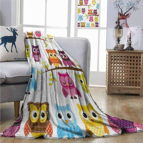 Homrkey Super Soft Lightweight Blanket Nursery Patchwork Quilt Style Owls on Branches Animals with Green Leaves Bird Mascots Print Blanket as Bedspread W70 xL93 Multicolor
