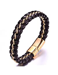 """Mens Brown Braided Genuine Leather Bracelet 18k Gold Plated Wavy Stainless Steel Line Magnetic Clasp 8.5"""""""