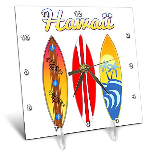- 3dRose Macdonald Creative Studios - Hawaii - 3 Retro Style Surfboards for Anyone who Loves Surfing in Hawaii. - 6x6 Desk Clock (dc_291891_1)