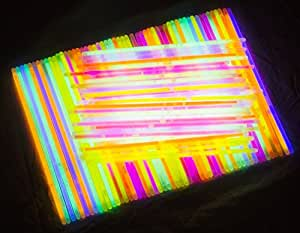 """Glow Sticks Bulk 300 Count -  8"""" PartySticks Brand Premium Glow In The Dark Light Sticks - Makes Tons of Glow Necklaces and Glow Bracelets (3 Tubes of 100)"""