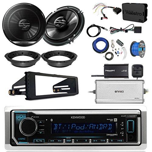 Kenwood KMR-M322BT Marine Bluetooth Radio, 2x Pioneer 6.5 Speakers, Adapters, 4-Ch. Amplifier, Amp Kit, Wiring Kit, Enock Harley Dash Kit, Antenna, 16-G 50 Ft Tinned Wire (Select '98-'13 Harleys) - Wireless 4 Ch Receiver Module
