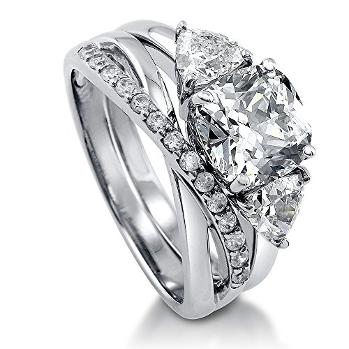 Accented Trillion Ring - BERRICLE Rhodium Plated Sterling Silver Cushion Cut Cubic Zirconia CZ 3-Stone Infinity Engagement Wedding Ring Set 4 CTW Size 7