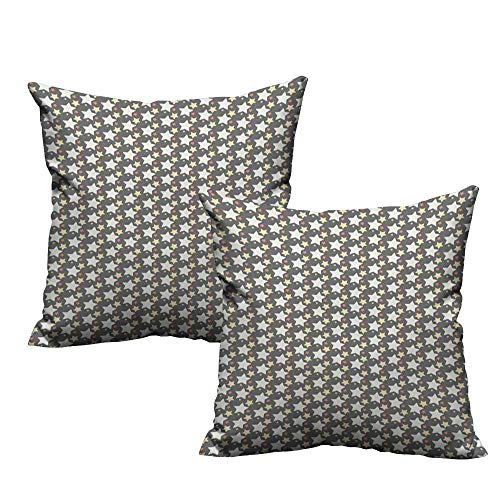 (WinfreyDecor Fashion Pillowcase Retro Big and Little Star Silhouettes in Celestial Abstraction Celebration Machine Washable W14 x L14 Multicolor)