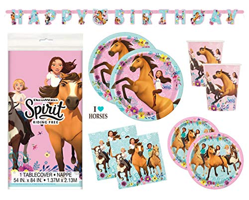 Spirit Riding Free Horse Birthday Party Supplies Set - Plates, Cups, Napkins, Tablecloth, Banner Decoration and Sticker -