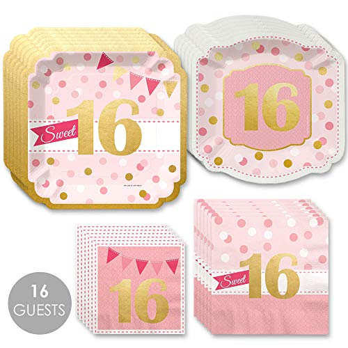 Sweet 16 with Gold Foil - 16th Birthday Party Tableware Plates and Napkins - Bundle for 16 -