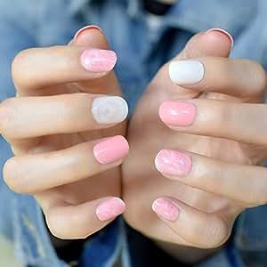 Amazon.com: coolnail rosa cubierta de corta uñas postizas ...