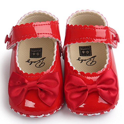 AMA(TM) Newborn Baby Girl Soft Flats Sole Crib Shoes Warm Bowknot Toddler Leather Shoes (0~6 Months, Red) from AMA(TM)