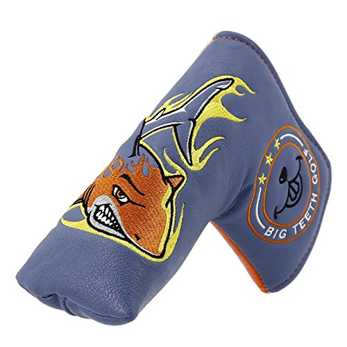 Big Teeth Golf Blade Putter Cover Headcover Club Protector Magnetic Bar Closure for Scotty Cameron Taylormade Odyssey (Shark)