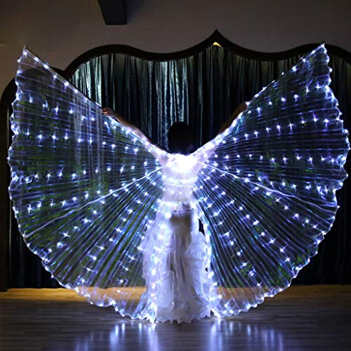vegan Belly Dance Opening Angle Wings 360 Degrees LED Luminous Light Up Flexible Sticks,Adults Halloween Stage Performance Props White/Blue Color (White) -