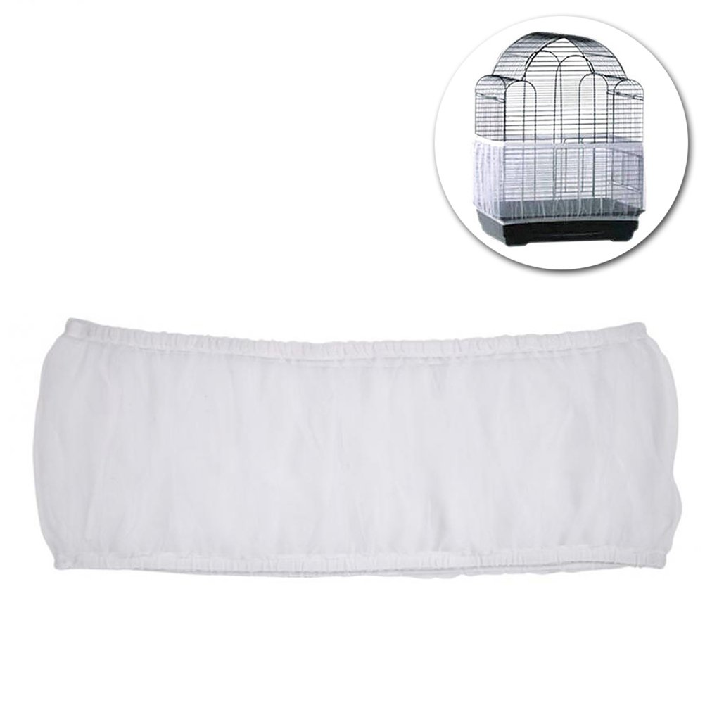POPETPOP Pet Products Mesh Bird Seed Catcher Net Cover Shell Skirt for Bird Cages Size M (White)
