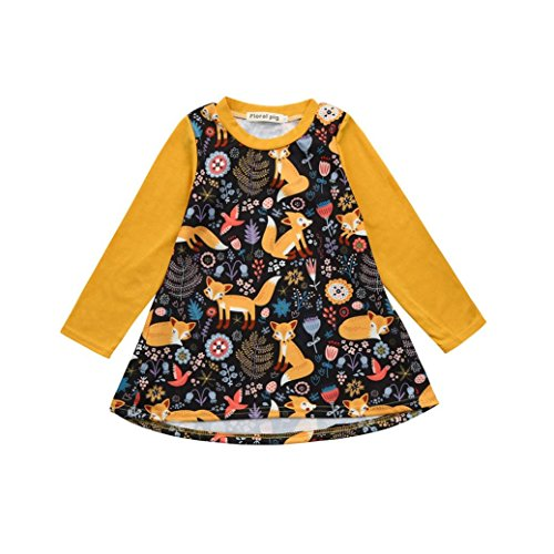 Sagton® Cute Cartoon Fox Print Toddler Baby Girls Dress Kids Baby Girls Long Sleeve Dress (Yellow, 12-24M)