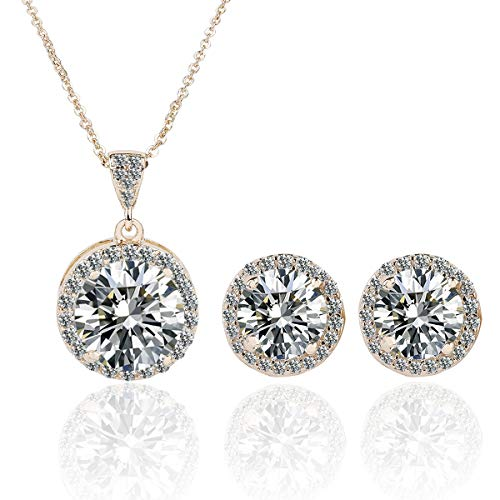 Tiffany Silver Plated Necklace - AMYJANE Crystal Jewelry Set Bride Bridesmaids - 14k Gold Plated Sterling Silver Round Cubic Zirconia Crystal cz Bridal Pendant Necklace Earrings Set for Women Party Prom
