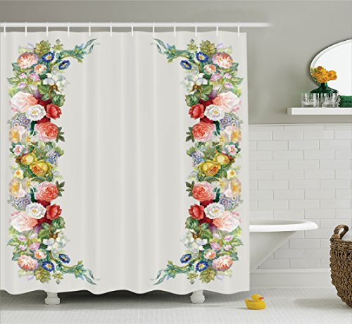 Ambesonne Victorian Decor Shower Curtain Set, Rose Garland In Pastel Tones Jasmine Cornflower Bouquet Classic Bloom Graphic, Bathroom Accessories, 69W X 70L Inches, Red Yellow Green
