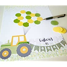 Tractor Theme Boy 1st Birthday Party Decor, Yellow and Green One Year Old Guest Book Alternative