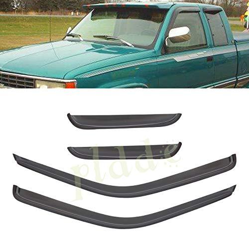 (PLDDE 4 pcs For 88-00 Chevy/GMC C10 C/K Pickup Extended Cab Front+Rear Sun/Rain Guard Outside Mount Window Visors)