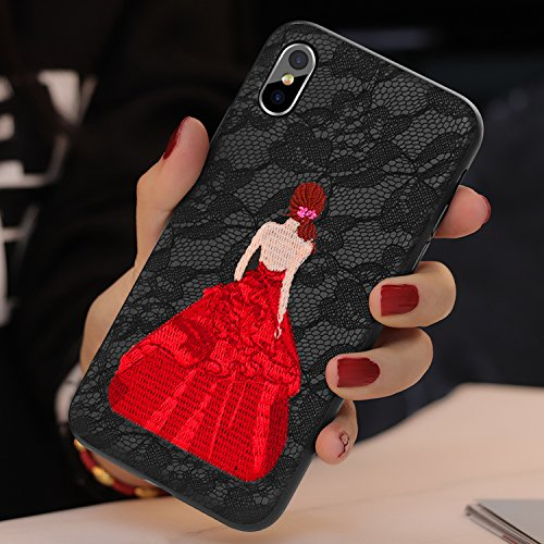 GETIHU iPhone X Case Beautiful Lace Embroidery Phone Case Anti-knock Drop-proof Full Protective Cover for iPhone 10(Black) (Case Embroidery)