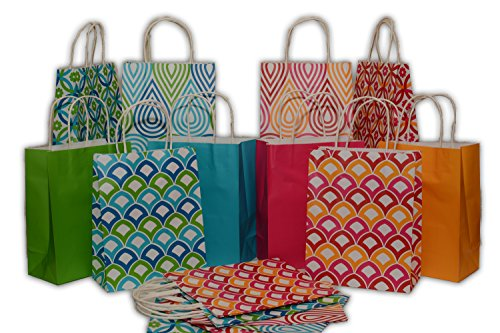 Assorted bright color Kraft paper gift bags, medium, set of 16 bags, 8 x 10 x 4