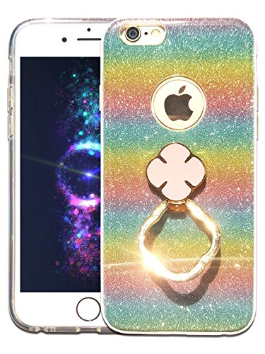Panex Dist Iphone 6S Plus Case With Finger Holder Ring  Luxury Rainbow Glitters Sparkle  Bling 3 In 1 Layered Silicone Rubber Cover  Protectively Ultra Slim  Rainbow   Iphone 6 Plus 6S Plus