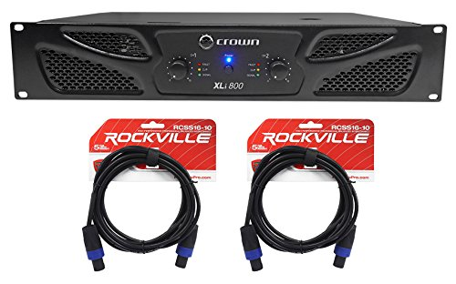 Crown Pro XLi800 600w 2-Channel DJ/PA Power Amplifier Amp + Cables XLI 800