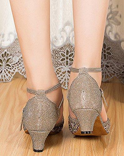 Grey Shoes Tango Comfort 5cm Ballroom Synthetic Heel MGM Joymod Latin Modern Dance Glitter Women's PwBq4