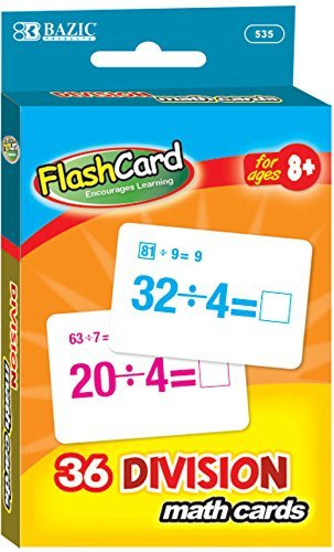 BAZIC Division Flash Cards (36/Pack) 72 pcs sku# 1875753MA by Bazic