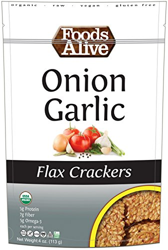 Foods Alive Flax Crackers Onion Garlic 4 oz 113 g by Foods Alive