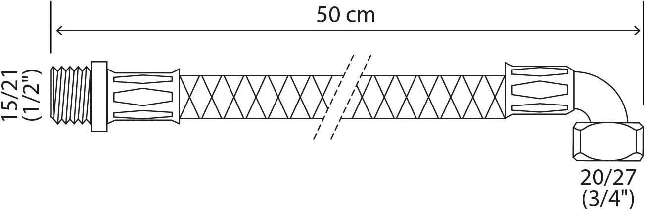 SOMATHERM FOR YOU - Longueur 50 cm 1//2 Flexible sanitaire raccordement /écrou tournant coud/é Femelle 20//27 3//4 - raccord M/âle 15//21 DN8