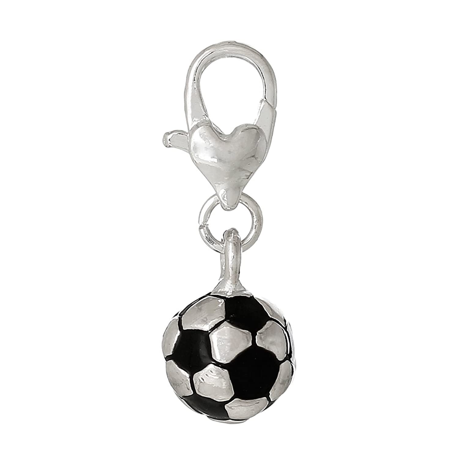 """Soccer Ball "" Charm Bead Clip On For Bracelet Charm Pendant for European Charm Jewelry w/ Lobster Clasp"
