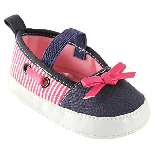 Stripe Navy Blue Flat Shoe (Luvable Friends Girls Boat Shoes (Infant), Navy/Pink, 12-18 Months M US Infant)