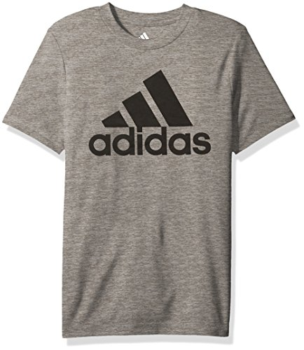 adidas Boys' Big Stay Dry Climalite Short Sleeve T-Shirt, Melange Charcoal Grey Heather, L (14/16) Adidas Climalite Short Sleeve Tee