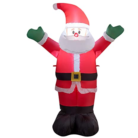 Gymax 1 2m Christmas Inflatable Santa Claus Xmas Waterproof Led Light Up Decoration For Outdoor And Indoor 1 2m Waving Santa Claus