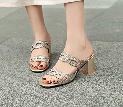 Mee Shoes Damen Chunky Heels Strass Open Toe Sandalen Gold