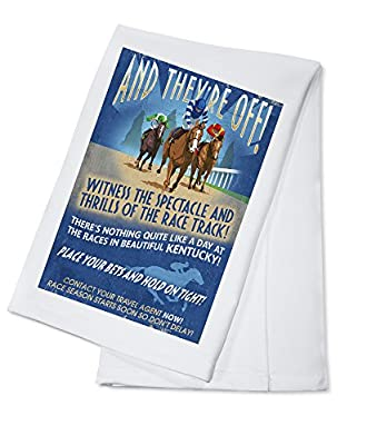 Kentucky - Horse Racing Vintage Sign (100% Cotton Absorbent Kitchen Towel)