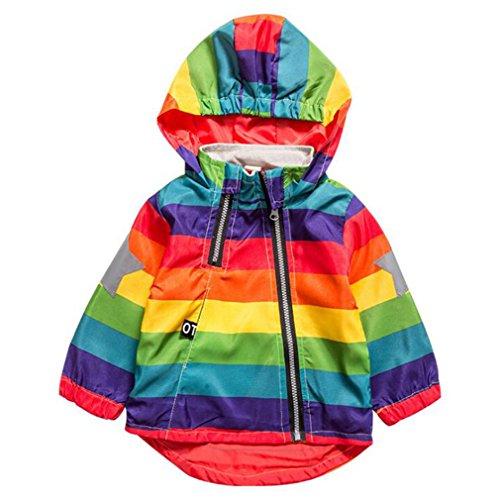 Teenfir Jacket Children Rainbow Clothing Kids Hooded Coats Windbreaker Outerwear 1 (Striped Moses Basket)