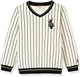 Kid Nation Kid's Stripe Pullover Sweatshirt for Boys and Girls XS White