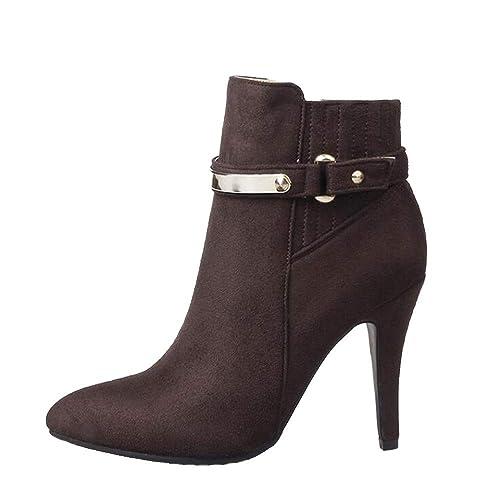 Shirloy Botas para Mujer Otoño e Invierno Zapatos para Mujer Botas tacón  Alto Gran tamaño Botas tacón Aguja con Punta Sexy Martin Botas Cuero Zapatos   ... add0f35486734