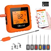 TURATA Bluetooth Meat Thermometer for Grilling and Smoker, Wireless Digital Grill Safe-Oven Cooking Thermometer, Outdoor BBQ Meat Thermometer with 6 Probes and APP Remote Control