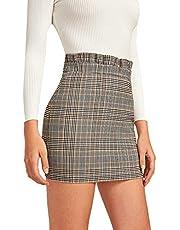 Verdusa Women's Plaid Print Frilled High Waist Bodycon Mini Skirt