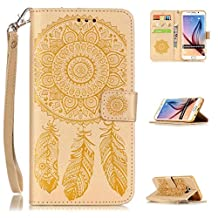 Galaxy S6 Edge Plus Case, Kmety Vintage Dream Catcher PU Synthetic Leather Wristlet Magnet Snap Wallet [Credit Card/Cash Slots] Kickstand Flip Case Cover for Samsung Galaxy S6 Edge Plus