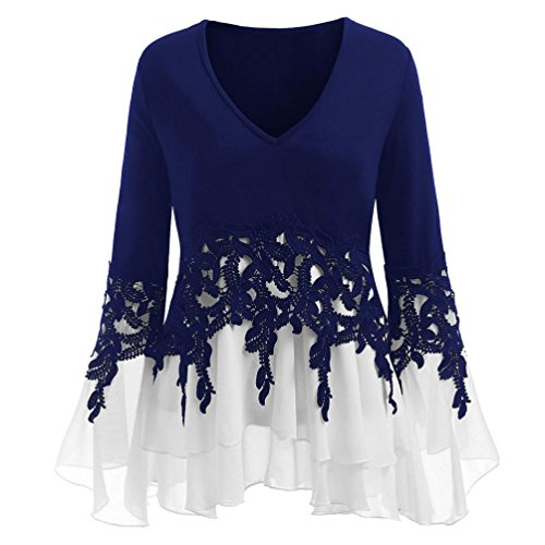 FEITONG Womens Casual Applique Flowy Tops Chiffon V-Neck Flare Long Sleeve Blouse(XX-Large,Blue) by FEITONG