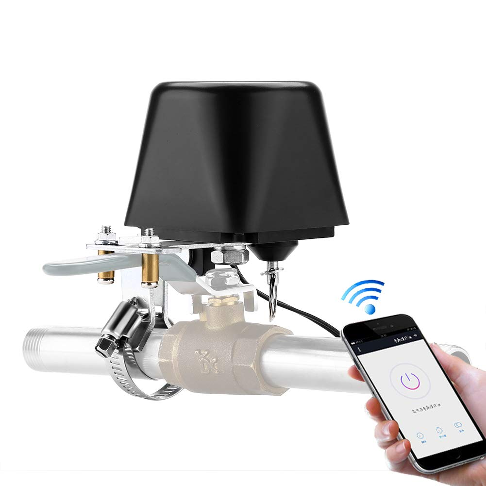TOMLOV Smart WiFi Water/Gas Valve Sensor Wireless Controller Shut Off Valve Compatible with iOS/Android APP, Compatible with Alexa and Google Assistant