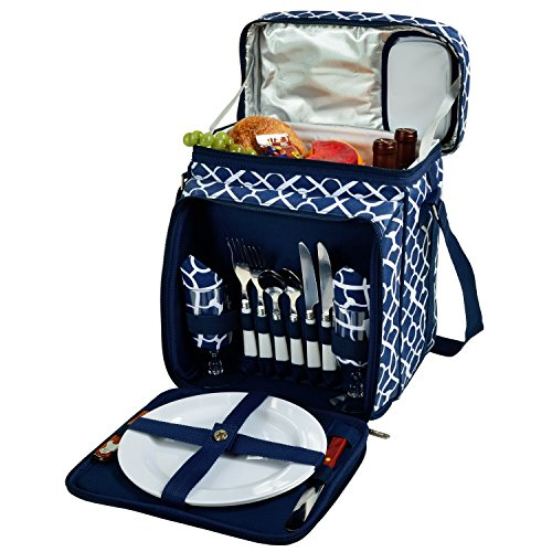 Picnic at Ascot Insulated Picnic Basket Cooler Fully Equipped with Service for 2 – Trellis Blue