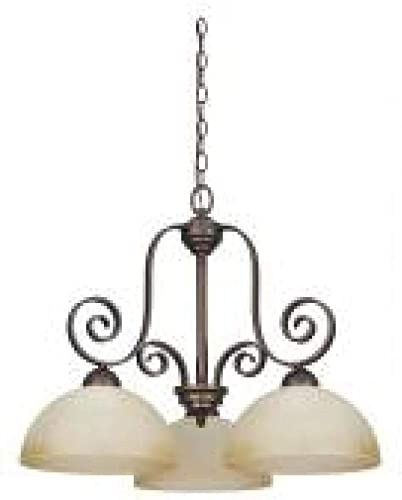 Sunset Lighting F5275-26 Provano – Three Light Chandelier, Tique Finish with Buttercup Glass