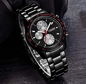 Curren Watches Men Luxury Brand Analog Stainless Steel Case Men Quartz Black Color Watch [8016]