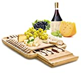 """Natural Bamboo Cheese Board Set with Stainless Steel Cutlery Set, Hidden Slide Out Drawer with Non-Slip Feet, Great Mother's Day Gift, 13"""" x 13"""""""