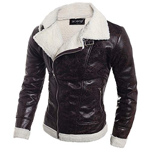 inter Warm Coat Faux Fur Lined Lapel High Neck Jacket Classic Motorcycle Leather Zipper Coat Top ()