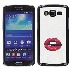 YOYOYO Smartphone Protección Defender Duro Negro Funda Imagen Diseño Carcasa Tapa Case Skin Cover Para Samsung Galaxy Grand 2 SM-G7102 SM-G7105 - labios sensual beso blanco rojo amor beso