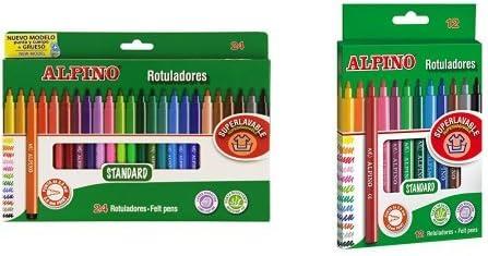 Alpino - Pack 24 rotuladores de colores + 12 rotuladores de colores: Amazon.es: Oficina y papelería