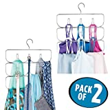mDesign Closet Rod Hanging Clothing and Accessory Organizer for Yoga Pants/Leggings, Tank Tops, Scarves - Snag Free Design - 10 Sections, Pack of 2, Modern Steel Wire Design, Durable Chrome Finish