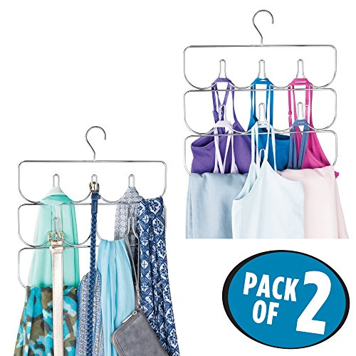 mDesign Closet Rod Hanging Clothing and Accessory Organizer for Yoga Pants/Leggings, Tank Tops, Scarves - Snag Free Design - 10 Sections, Pack of 2, Modern Steel Wire Design, Durable Chrome Finish by mDesign